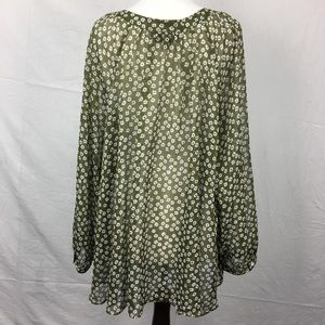 Lane Bryant Tops - Lane Bryant Olive Green Floral Peasant Blouse